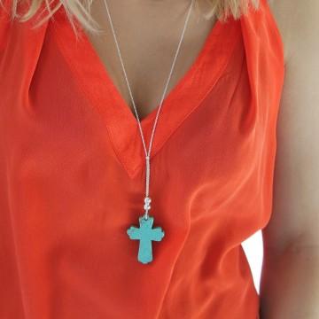 Sautoir chaîne argent croix turquoise - Majabel