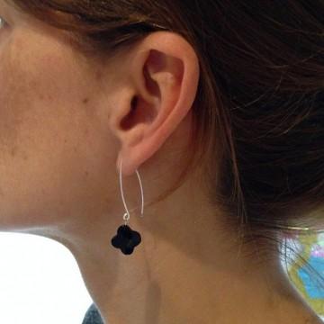 Boucles d'oreilles argent Agate noire - Majabel