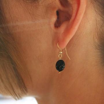 Boucles d'oreilles plaqué or Agate noire ovale - Majabel