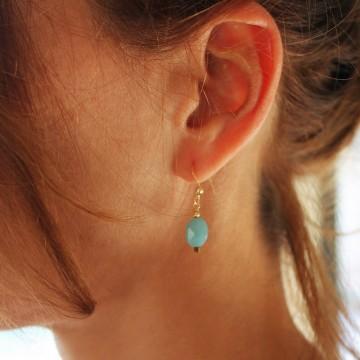 Boucles d'oreilles plaqué or Amazonite - Majabel