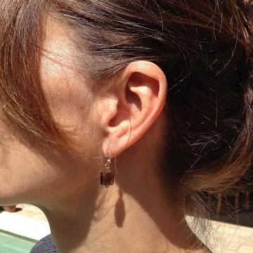 Boucles d'oreilles plaqué or Quartz fumé - Majabel