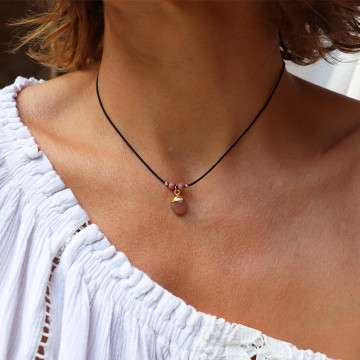 Collier cordon Léonie Calcédoine rose - Majabel
