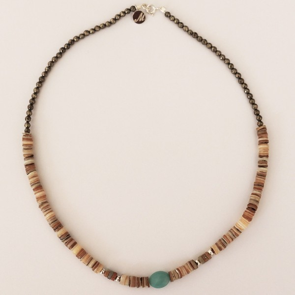 Collier Mahana coquillage et Amazonite - Majabel