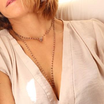 Collier Anaïs chaîne rosaire en pierre de lune - Majabel