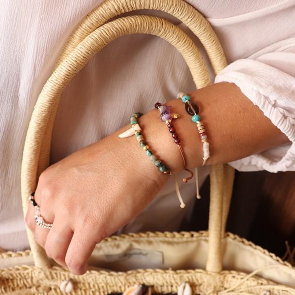 Bracelet Rio, Turquoise et pierre de rivière - Majabel