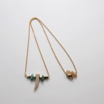 Collier Horus chaîne doré et corne - Majabel