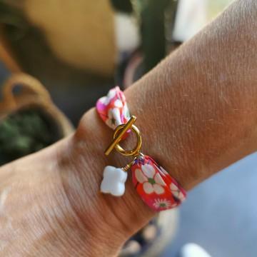 Bracelet Liberty pierre fine Agate blanche - Majabel