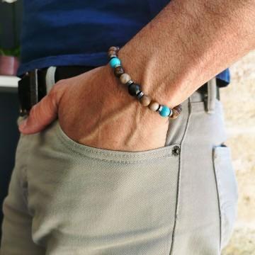 Bracelet Homme élastique Teva en pierre fines - Majabel